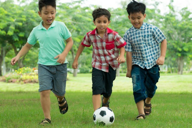 kids playing with ball